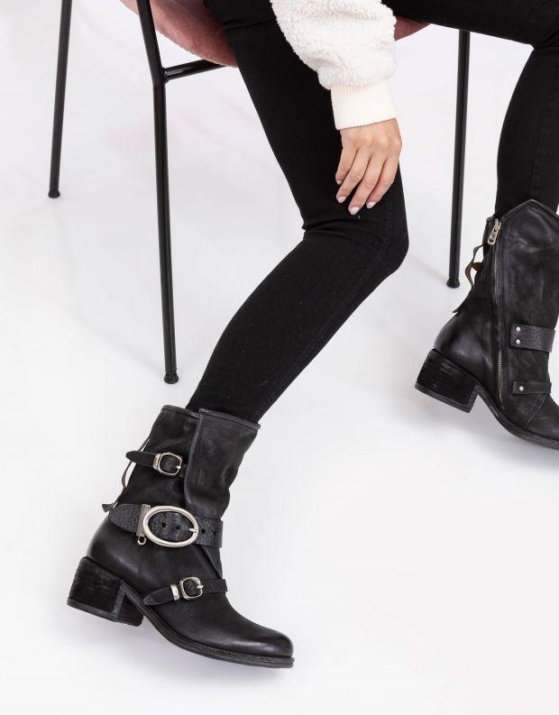 נעלי נשים - A.S. 98 - מגפיים עם אבזמים OPEA - שחור