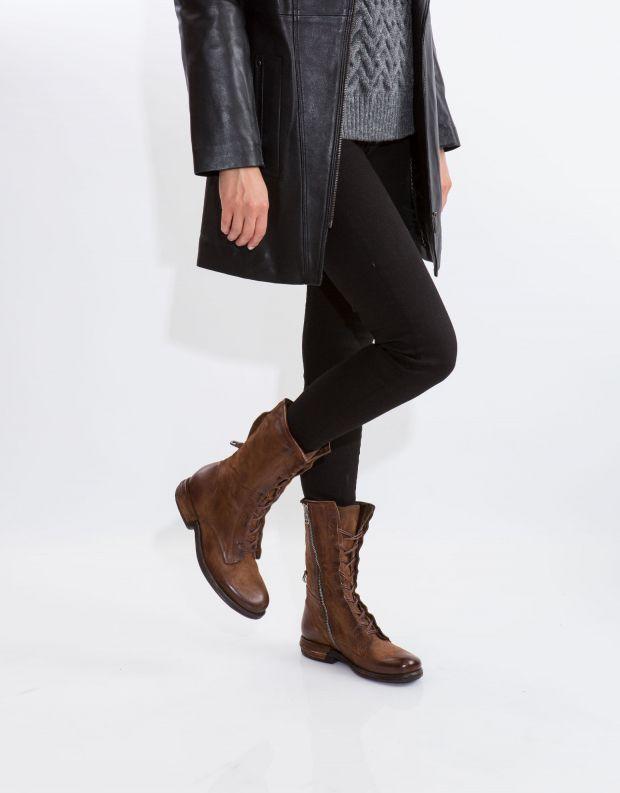 נעלי נשים - A.S. 98 - מגפי עור עם שרוכים TEAL - חום בהיר