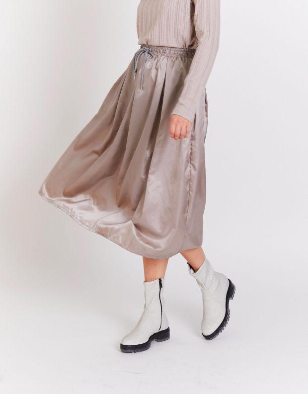 נעלי נשים - NR Rapisardi - מגפונים מבד דמוי עור INA - לבן