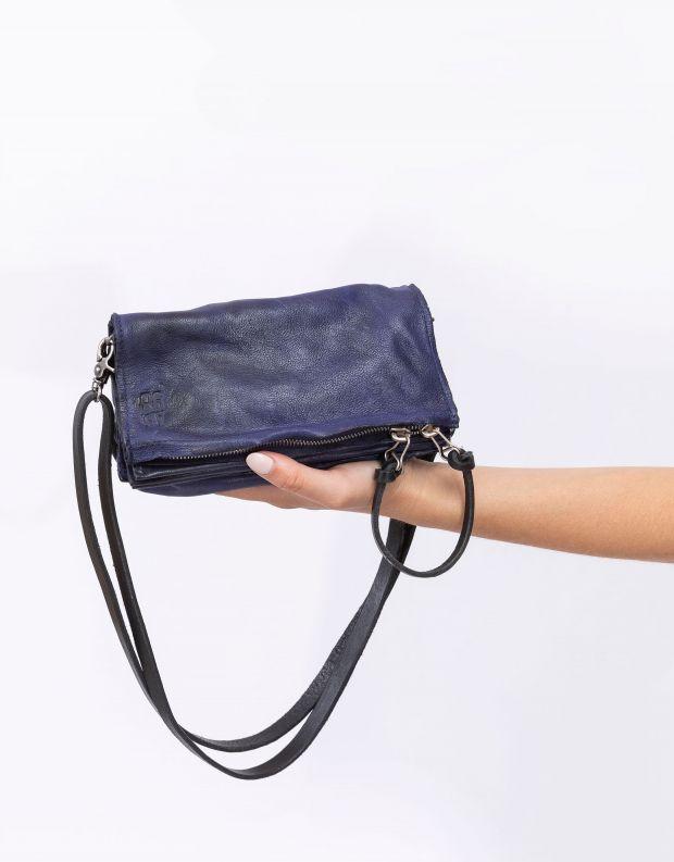 נעלי נשים - A.S. 98 - תיק צד מעור אקורדיאון קטן - כחול